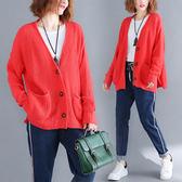 外套【K36】FEELNET中大尺碼女裝2018秋裝韓版V領加厚純色針織長袖外套 均碼