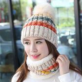 毛帽百搭瘦臉月子帽冬季韓版女士毛線針織雙層保暖帽加厚毛球帽兩件套【百姓公館】