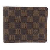LOUIS VUITTON LV 路易威登 棕色棋盤格二折短夾 N60011 【二手名牌BRAND OFF】