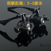 頭戴眼鏡式維修放大鏡 修鐘錶帶LED燈高清10倍15倍20倍25倍雙眼式【台北之家】