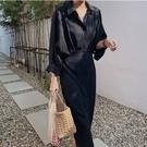 韓版洋裝蝙蝠袖寬松系帶收腰長款襯衫裙 秋...