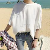 短袖針織上衣 t恤女短袖裝新款韓版寬鬆百搭大碼體恤純色冰絲針織衫上衣 俏女孩