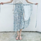 系帶魚尾長裙夏泰國旅游必備裹裙高腰荷葉邊碎花雪紡一片式半身裙 怦然心動