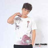 BIG TRAIN 盛菊月櫻圓領T-男-白色