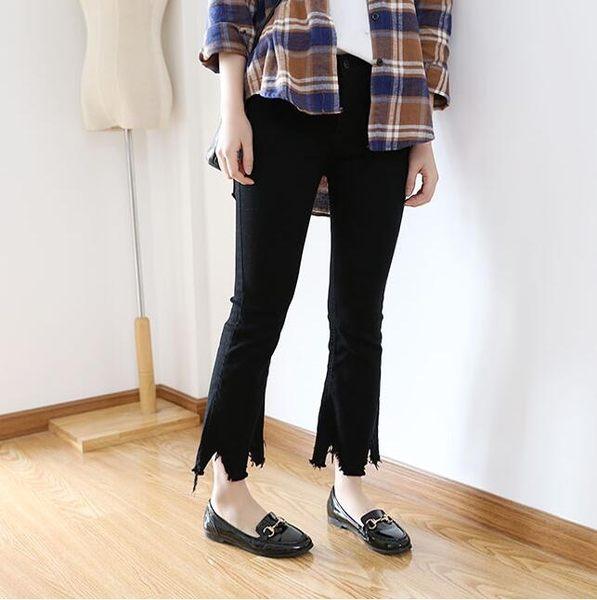 高腰顯瘦不規則九分喇叭牛仔褲FA05012『時尚玩家』