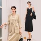 職業兩件套 吊帶連身裙兩件套秋季套裝女正韓氣質洋氣西裝職業休閒時尚外套-Ballet朵朵