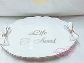 小花花日本精品Hello Kitty白色瓷盤金邊蝴蝶結質感置物盤名片盤居家裝飾2入組11179207