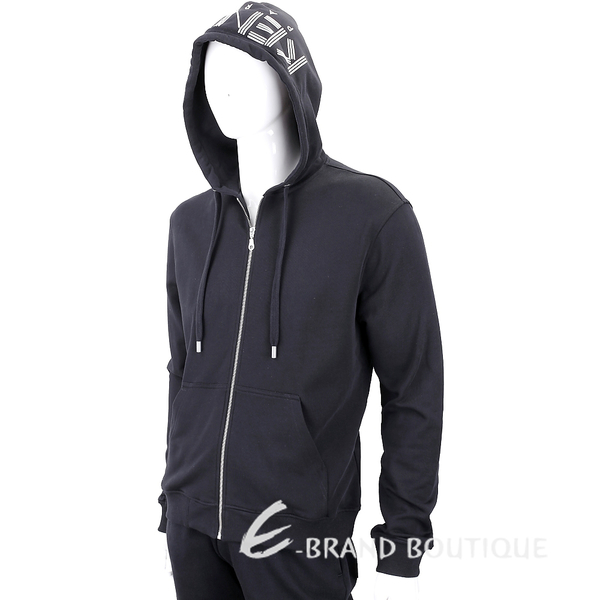 KENZO 幾何字母LOGO黑色棉質連帽運動外套(男款) 1840418-01