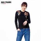 Big Train 京都小鹿圓領長袖女T-黑-Z2513388