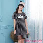 Red House 蕾赫斯-網紗拼接印花長版上衣(共2色)