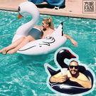 ◇方妮FaNi◇實拍❤歐美原單【圓型黑天鵝充氣床泳圈白天鵝游泳圈浮板天鵝充氣泳圈】