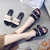 拖鞋女夏外穿2018新款韓版百搭荷葉邊平跟涼拖鞋女鞋沙灘鞋一字拖 35-40碼