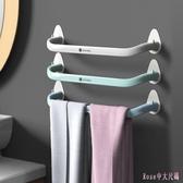 毛巾架 免打孔衛生間架子浴室強力無痕貼桿單桿浴巾置物架 DR21956【Rose中大尺碼】