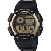 CASIO 卡西歐 10年電力世界時間手錶-金x黑 AE-1400WH-9A / AE-1400WH-9AVDF