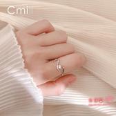 戒指 s925銀伸懶腰的貓星人開口戒指女創意設計感小眾學生指環韓版飾品