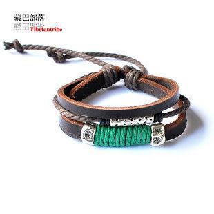 頭層牛皮藏銀桃木繩編手鏈
