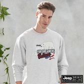 【JEEP】美式立體圖騰長袖T恤 (灰白)