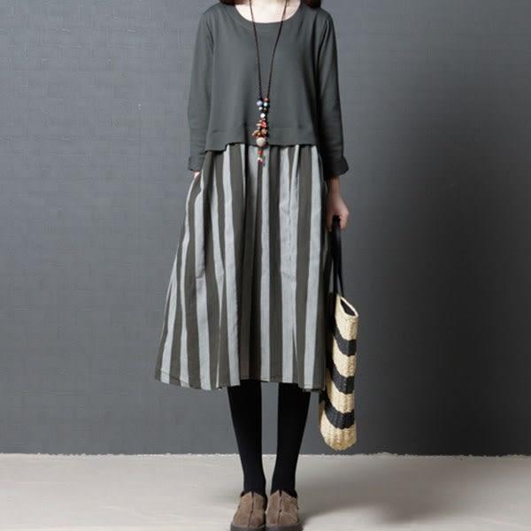 棉麻直條紋洋裝