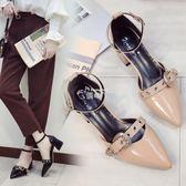 夏新款韓版女鞋一字扣粗跟少女尖頭學生高跟鞋包頭羅馬涼鞋女 俏腳丫