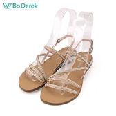 【Bo Derek 】鑲鑽繫帶露趾涼鞋-粉色