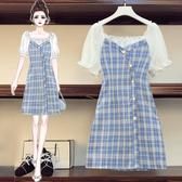 洋裝 夏裝韓版大碼微胖mm洋氣顯瘦格子拼接連身裙3702#F093依佳衣