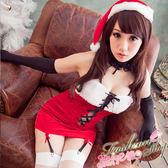 聖誕裝 性感聖誕裝綁帶深V聖誕服 聖誕節服裝性感聖誕服裝含聖誕帽~流行E線F039