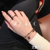 韓國小清新愛心心形桃心鈦鋼18K玫瑰金彩金不掉色手環手鋉手鐲女『艾麗花園』