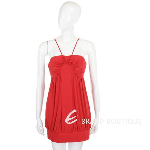 CLASS roberto cavalli 紅色百褶細肩帶短版洋裝 0920078-54