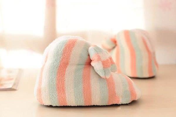 【發現。好貨】韓國室內靴 馬卡龍色粉嫩條文室內靴 蝴蝶結拖鞋 全包跟保暖家居鞋 舒服