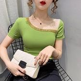 露肩上衣 斜領露肩短袖T恤女2021夏季新款時尚洋氣小衫設計感小眾純棉上衣 童趣屋