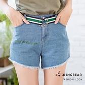 休閒褲--舒適個性帥氣毛邊英文刺繡腰帶修身口袋牛仔短褲(藍XL-5L)-R222眼圈熊中大尺碼