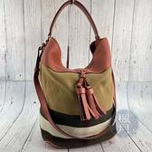 BRAND楓月 BURBERRY 巴寶莉 經典 格紋 帆布 拼接風格 棉麻肩背 斜背包 兩用包 子母包 水桶包