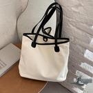 帆布包女側背包大容量托特包休閒手提大包包購物袋包【邻家小鎮】