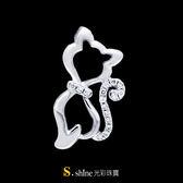 【光彩珠寶】鉑金鑽石項鍊墜飾 貓之戀