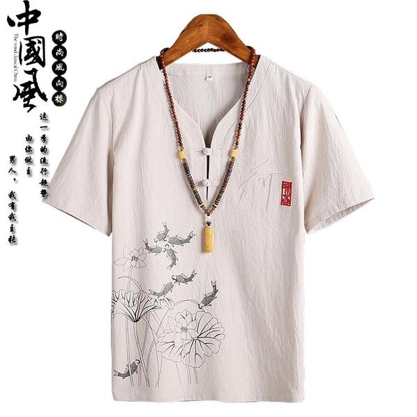 棉麻t恤夏季薄款短袖印花盤扣中式T半袖上衣禪衣薄款唐裝【全館免運】