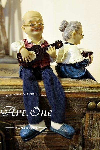 ART ONE 居家設計館 AR09635 老夫妻/公婆彈奏樂器布腿
