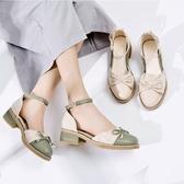 粗跟鞋子女2020年新款春季仙女鞋淺口中空單鞋女百搭小香風涼鞋夏 高盛旗艦店