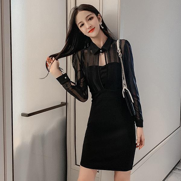 VK旗艦店 韓系收腰透視網紗拼接性感包臀夜店長袖洋裝