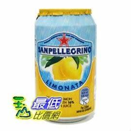 [COSCO代購] San Pellegrino 聖沛黎洛 氣泡水果飲料 檸檬口味 330毫升 X 24罐 _W108311