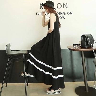 洋裝 無袖連身裙 女夏新款韓版莫代爾背心長裙 寬鬆顯瘦孕婦a型條紋拼大碼裙
