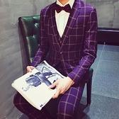 西裝套裝含西裝外套+西裝褲(二件套)-經典潮流方格百搭男西服2色73hc99[時尚巴黎]