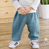 防蚊褲 寶寶防蚊褲夏季2019新款嬰幼兒字母織帶棉紗布燈籠褲休閒褲 多色