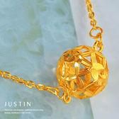 Justin金緻品 黃金項鍊 繡球花 金飾 9999純金套鍊 金項鍊 金鍊子 大鑽球 鑽砂
