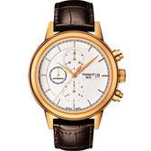 TISSOT 天梭 Carson 經典三眼計時機械手錶-銀x玫瑰金框/42mm T0854273601100