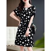 洋裝 大碼連身裙優雅氣質法式波點系帶藏肉肩線桑蠶絲連身裙D303A快時尚