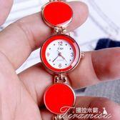 新款時尚石英女錶時尚流行紅色手錬錶男女情侶韓版學生閨蜜禮品錶中秋節下殺