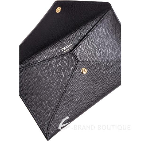 PRADA Letter 信封設計浮刻LOGO釦式萬用包(黑色) 1620985-01