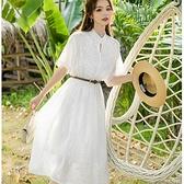 鏤空花朵V領棉質洋裝(附腰帶)[99223-QF]小三衣藏