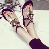 羅馬涼鞋-菱形韓版時尚優雅金屬片女平底涼鞋2色73ey24【巴黎精品】