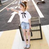 女童半袖襯衫夏裝新款兒童白色小清新短袖女孩學院風時尚上衣 店家有好貨